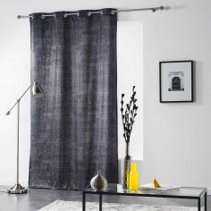 Verona Printed Velvet Curtain Panel with Eyelet Top - Charcoal Grey