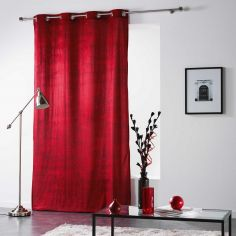 Verona Printed Velvet Curtain Panel with Eyelet Top - Red