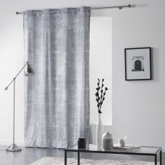 Verona Printed Velvet Curtain Panel with Eyelet Top - Silver Grey