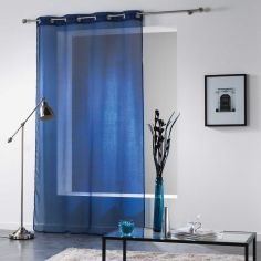 Verona Printed Eyelet Voile Curtain Panel - Blue