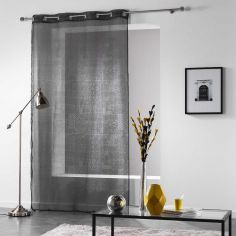 Verona Printed Eyelet Voile Curtain Panel - Charcoal Grey