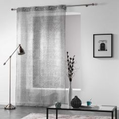 Verona Printed Eyelet Voile Curtain Panel - Silver Grey