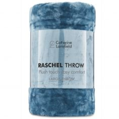 Catherine Lansfield Plain Raschel Throw - Jade Blue