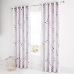 Catherine Lansfield Enchanted Unicorn Lined Eyelet Curtains - Pink