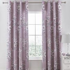 Catherine Lansfield Canterbury Fully Lined Eyelet Curtains - Heather Pink