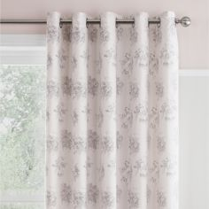 Catherine Lansfield Charlotte Fully Lined Eyelet Curtains - Blush Pink