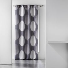 Tempo Eyelet Curtain Panel with Circle Print - Grey