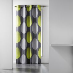 Tempo Eyelet Curtain Panel with Circle Print - Grey & Lime Green