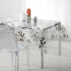 Spring Photoprint PVC Tablecloth - Grey & White