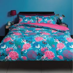Aviary Floral Duvet Cover Set - Blue Multi