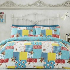 Rosalia Patchwork Floral Duvet Cover Set - Blue Multi