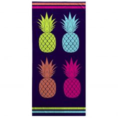Bright and Colourful 100% Cotton Beach Towel - Black & Multi
