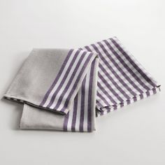 Cave A Vin Set of 2 Cotton Woven Kitchen Towels - Purple
