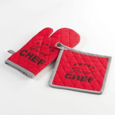 Chef Etoile Set of 100% Cotton Oven Glove and Pot Holder - Red