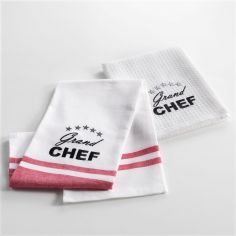 Chef Etoile Set of 2 Woven Embroidered 100% Cotton Kitchen Towels - White & Red