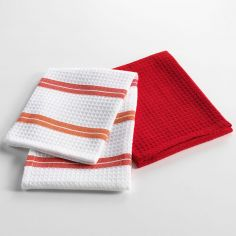 Chef Etoile Set of 2 Honeycomb 100% Cotton Kitchen Towels - White & Red