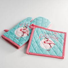 Happy Cocktails Flamingo Set of 100% Cotton Oven Glove and Pot Holder - Blue & Pink