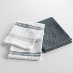 Top Cuisine Set of 2 Honeycomb 100% Cotton Kitchen Towels - White & Grey