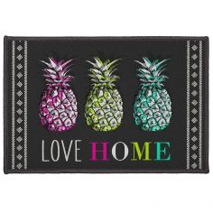 Ananas Rectangular Mat with Printed Pineapple - Black & Multi