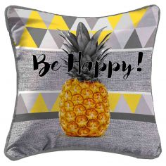 Ananas Cushion Cover with Pineapple Print - Grey & Yellow