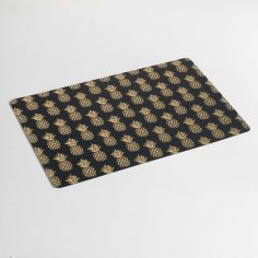 Ananas PVC Placemat with Pineapple Print - Black