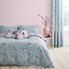 Catherine Lansfield Oriental Butterfly Duvet Cover Set - Duck Egg Blue