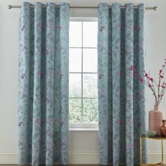 Catherine Lansfield Oriental Butterfly Fully Lined Eyelet Curtains - Duck Egg Blue