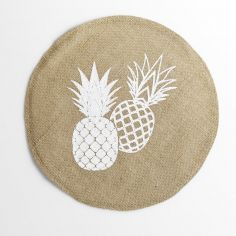 Ananas Spirit Linen Look PVC Placemat with Pineapple Print - Natural & White