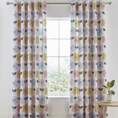 Catherine Lansfield Retro Floral Fully Lined Eyelet Curtains - Pastel Multi