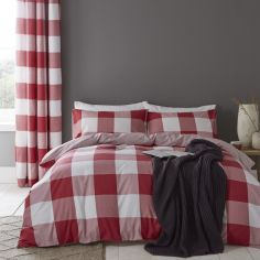Catherine Lansfield Boston Check Duvet Cover Set - Red