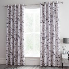 Catherine Lansfield Shrewsbury Floral Fully Lined Eyelet Curtains - Natural
