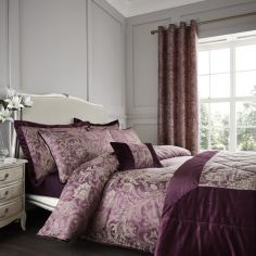 Catherine Lansfield Regal Jacquard Duvet Cover Set - Plum Purple