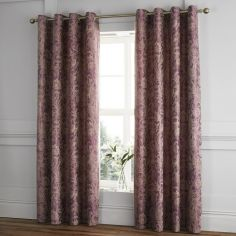 Catherine Lansfield Regal Jacquard Fully Lined Eyelet Curtains - Plum Purple