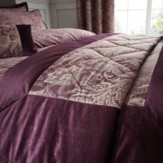 Catherine Lansfield Regal Jacquard Bedspread - Plum Purple