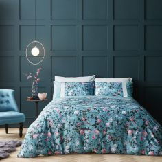 Catherine Lansfield Botanical Floral Duvet Cover Set - Teal Blue