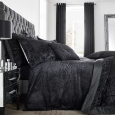 Catherine Lansfield Crushed Velvet Duvet Cover Set - Black