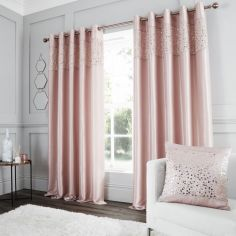 Catherine Lansfield Glitzy Sequin Fully Lined Eyelet Curtains - Blush Pink