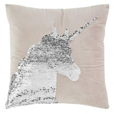 Catherine Lansfield Sequin Unicorn Cushion Cover - Pastel Pink