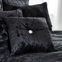 Catherine Lansfield Crushed Velvet Filled Cushion - Black