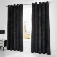 Catherine Lansfield Crushed Velvet Fully Lined Eyelet Curtains - Black