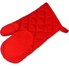 Cuistot Polycotton Oven Glove with Silicone Coating - Red