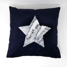 Catherine Lansfield Sequin Star Cushion Cover - Grey