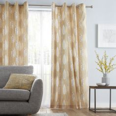 Catherine Lansfield Stockholm Leaves Fully Lined Eyelet Curtains - Ochre Yellow