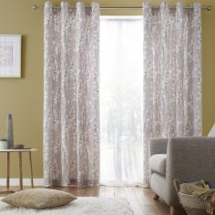 Catherine Lansfield Freya Leaf Fully Lined Eyelet Curtains - Grey