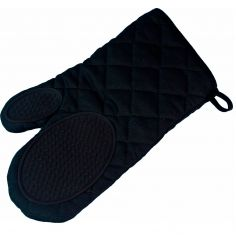 Cuistot Polycotton Oven Glove with Silicone Coating - Black