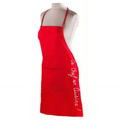 Cuistot 100% Cotton Apron with Pocket - Red