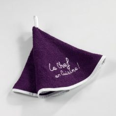 Cuistot 100% Terry Cotton Round Hand Towel - Purple