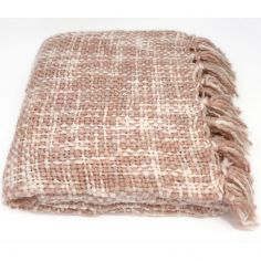 Catherine Lansfield Tonal Weave Throw - Blush Pink