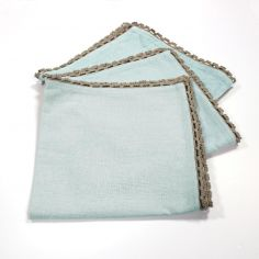 Femina Set of 3 Plain 100% Cotton Table Napkins with Lace Edges - Blue