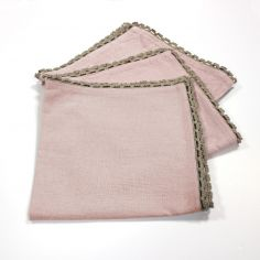 Femina Set of 3 Plain 100% Cotton Table Napkins with Lace Edges - Pink